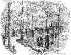 Illustration of a long stone bridge through the woods in Deepdene Park