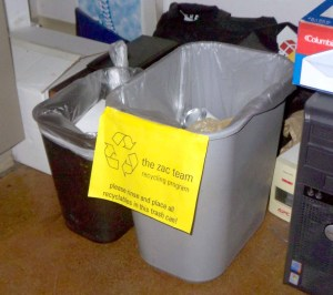 My recycling bin under my desk at work (dwarfing the little garbage can)