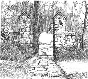 "Pen and ink illustration of the stack stone column entrance to the ""Little Lullwater"" park in Atlanta (illustration by Rod Pittam)"