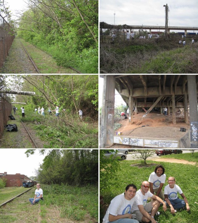 BeltLine progress! The photos on the left are looking south down the BeltLine from Lake to Edgewood, showing the growth over the second track, our group cutting and sawing, and me sitting on the tracks at the end. The right side shows another team cleaning kudzu off of the fence between Edgewood and DeKalb Avenue; cleaning up the bridge under Edgewood; and Gerard, Zack, Angel, and me hanging out at the after party.