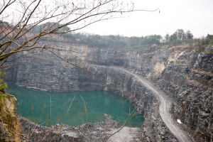 View of the Bell Quarry from the platform built for the tour. The excavated area will be filled in to become a water resevoir with a 30-day water supply for the city of Atlanta. (photo courtesy of Christopher Martin)