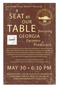A Seat At Our Table will feature local Georgia farmers and producers and benefit the Oakhurst Community Garden Project
