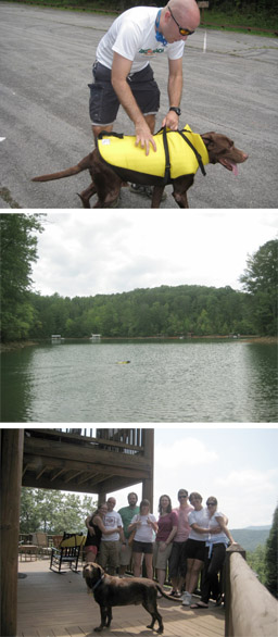 On top is Zack wrapping Grant up in his doggie life-jacket and below that is Grant swimming in a cove of Lake Blue Ridge; at the bottom is our group at the cabin!