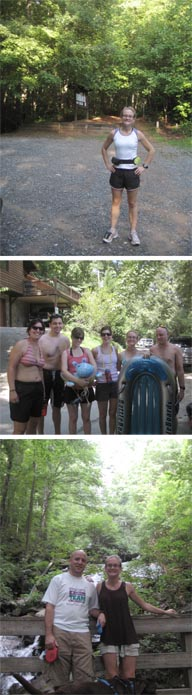 On top is the perky me prior to Sara's and my three hour adventure on Flat Creek Trail in the Aska Adventure area of Blue Ridge; in the middle is our group of friends getting ready to tube down the Toccoa River (such professionals we are); and on the bottom is Zack, Grant dog, and me at Amicalola Falls during our detour on the way back to Atlanta