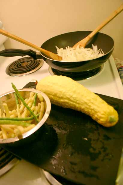 Local Atlanta vegetables, summer squash and beans