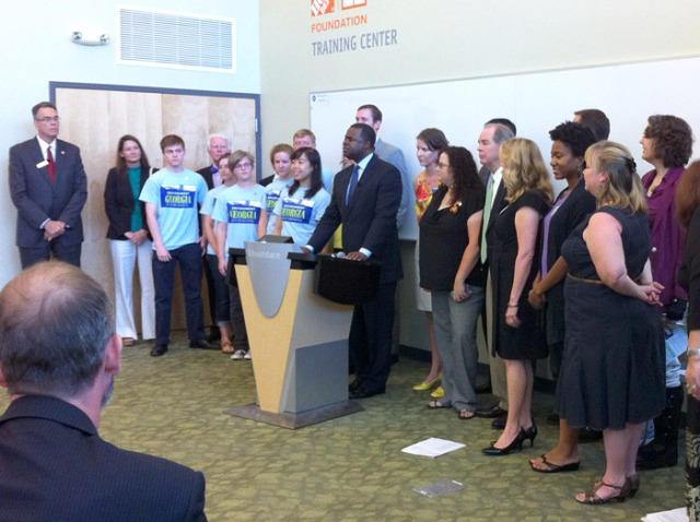 Mayor Reed and the press conference at Southface with environmental organizations in support of the Transportation Referendum